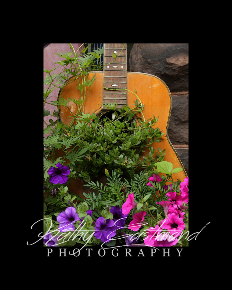 """Acoustic Guitar"" 5x7 print mounted on a black 8x10 acid-free matte for $20 with free shipping within the U.S.  (Kathy Eastmond's signature will replace the copyright  logo )"