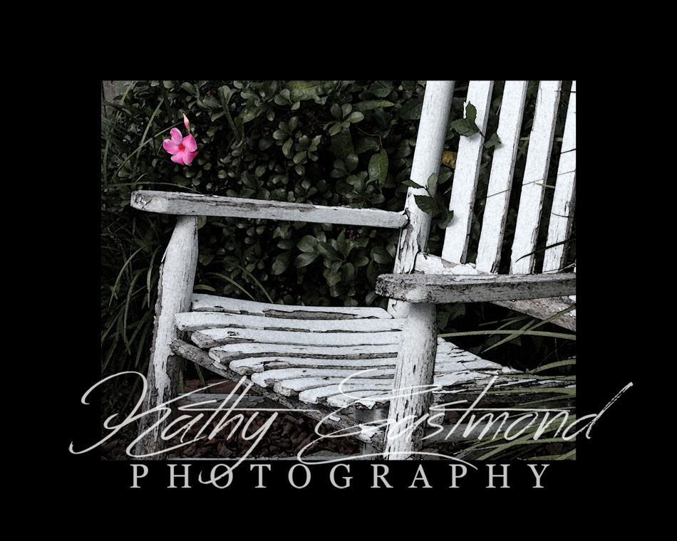 """Rocking Chair"" 5x7 print mounted on a black 8x10 acid-free matte for $20 with free shipping within the U.S.  (Kathy Eastmond's signature will replace the copyright  logo )"