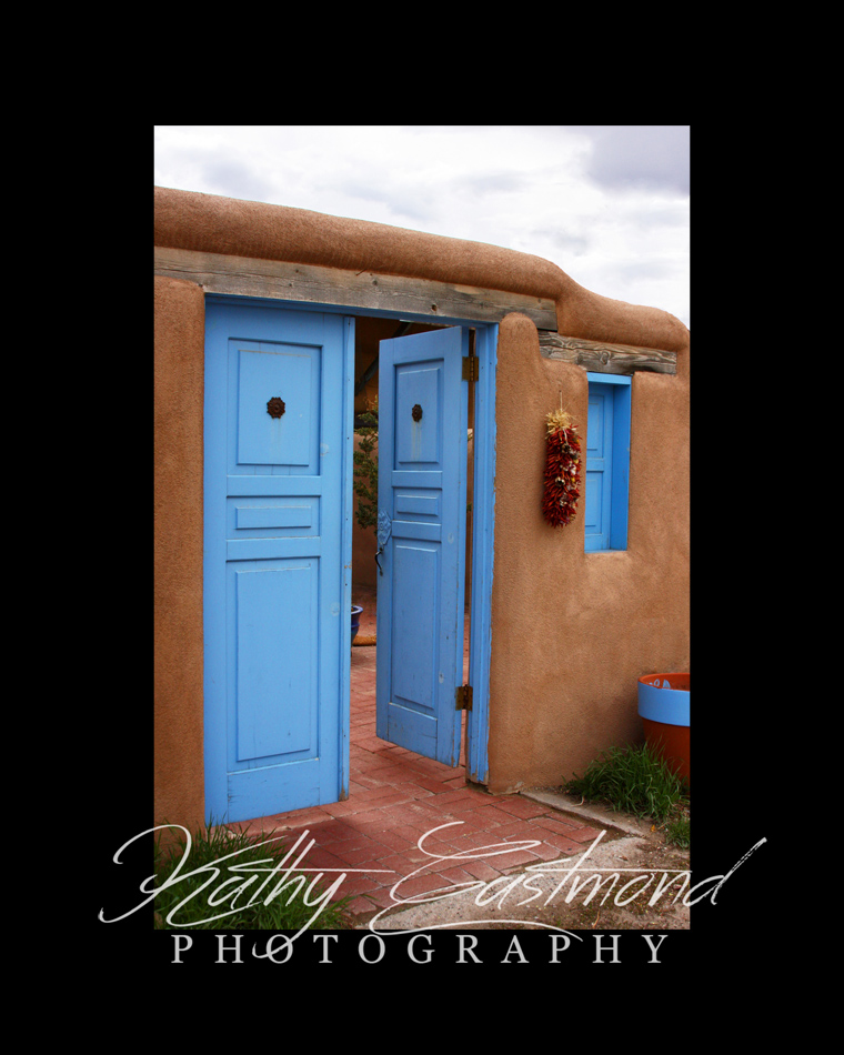 """""""Blue Door"""" 5x7 print mounted on a black 8x10 acid-free matte for $20 with free shipping within the U.S.  (Kathy Eastmond's signature will replace the copyright  logo )"""