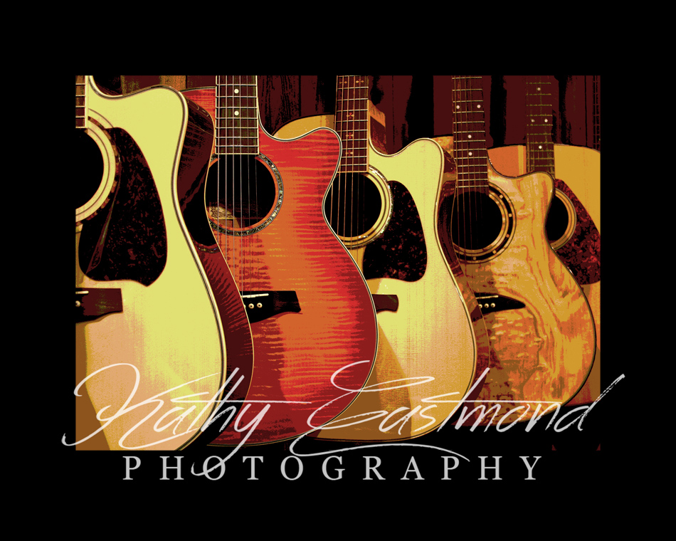 """Guitars"" 5x7 print mounted on a black 8x10 acid-free matte for $20 with free shipping within the U.S.  (Kathy Eastmond's signature will replace the copyright  logo )"