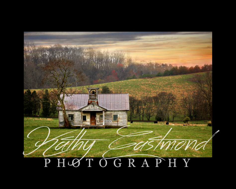 """Schoolhouse"" 5x7 print mounted on a black 8x10 acid-free matte for $20 with free shipping within the U.S.  (Kathy Eastmond's signature will replace the copyright  logo )"